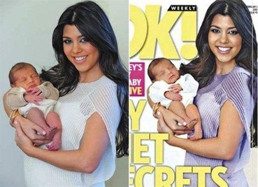 Kourtney Kardashian con airbrush