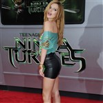 Bella Thorne In A Leather Mini Skirt At 'Teenage Mutant Ninja Turtles' Premiere
