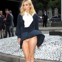 Elizabeth Olsen Windblown Upskirt Panties Flash
