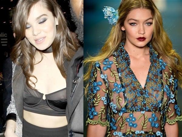 Hailee Steinfeld And Gigi Hadid Show Their Nipples In See Thru Tops