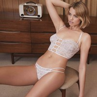 Hailey Clauson Pussy Peek In Lingerie Lace Panties