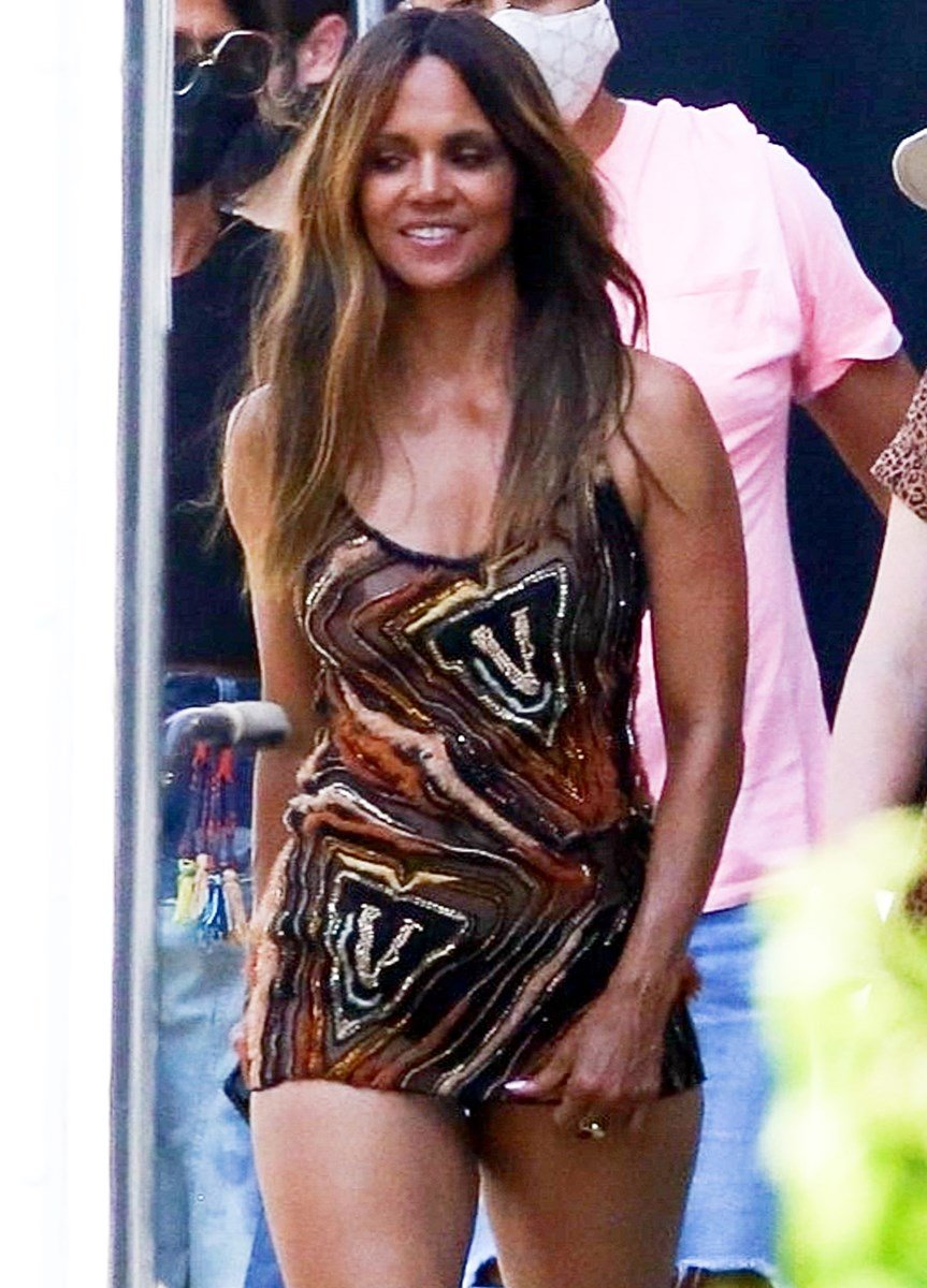 Halle Berry Shows Off Her Old Tit In A See Through Top