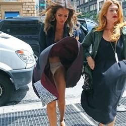 Jessica Alba Windblown Upskirt In NYC
