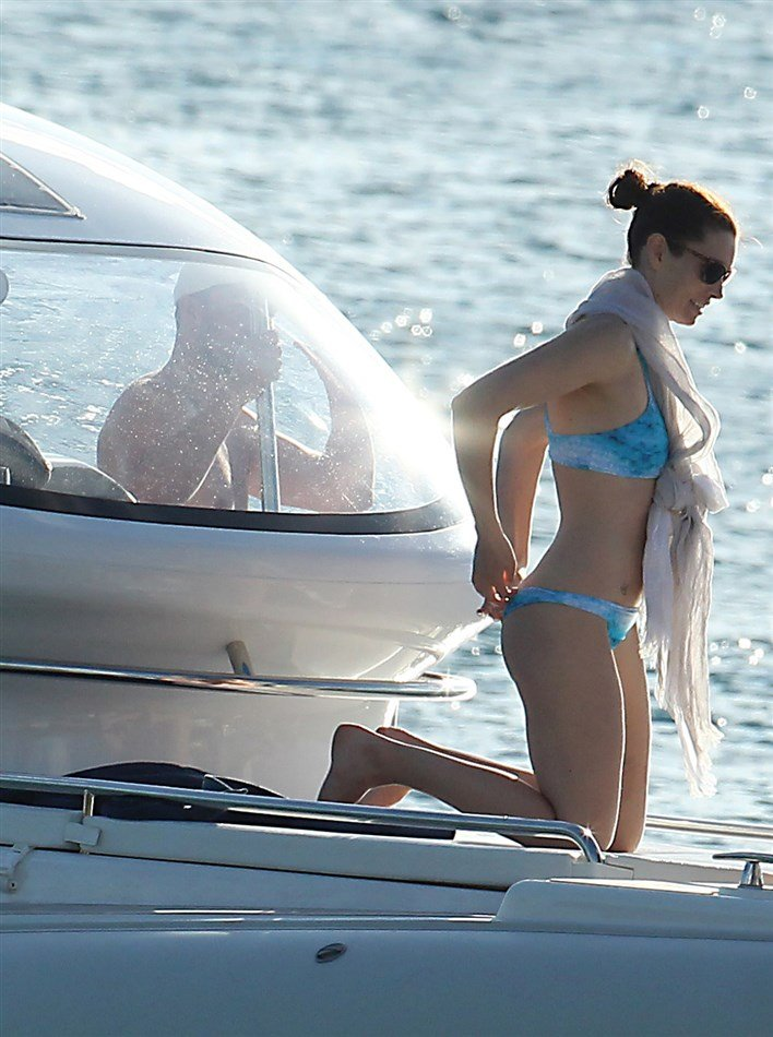 Jessica Biel On A Boat In A Thong Bikini