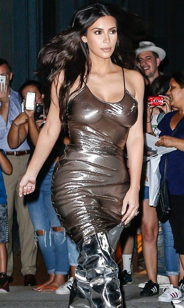 Kim Kardashian's Boobs Out In A See Thru Dress