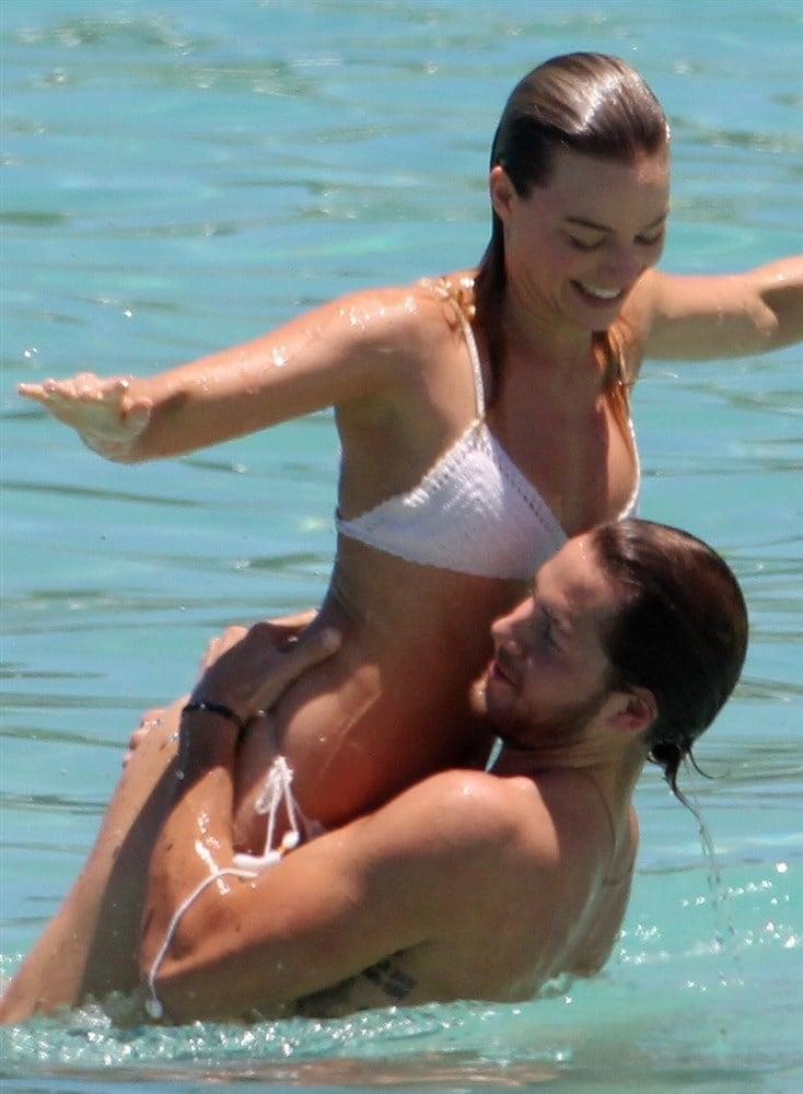 Margot Robbie White Bikini Beach Candids