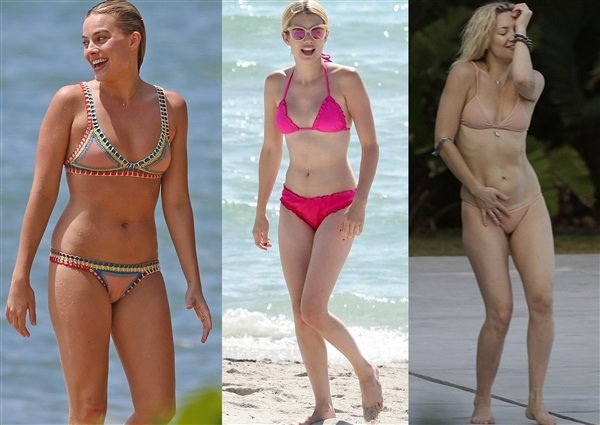 Margot Robbie Emma Roberts Kate Hudson bikini