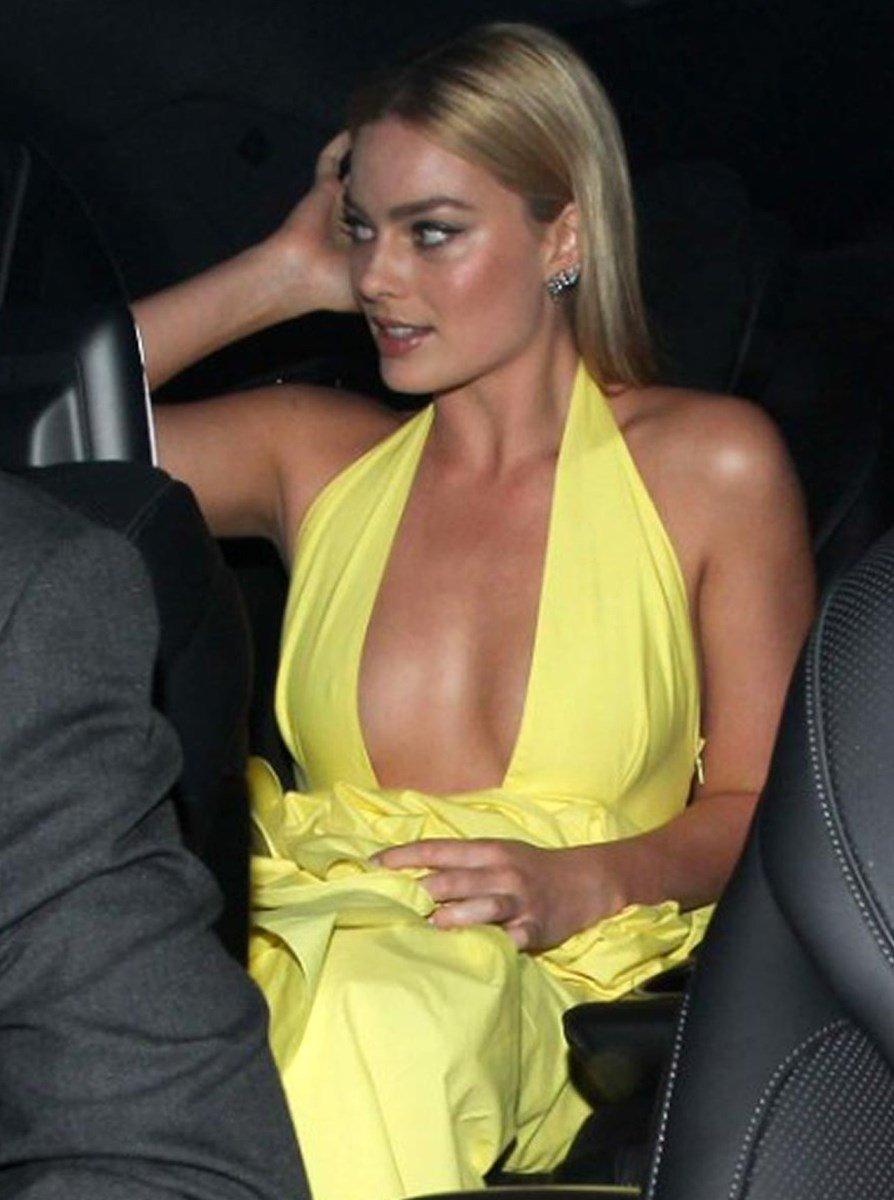 Margot Robbie Nipple Slips In A Low Cut Dress