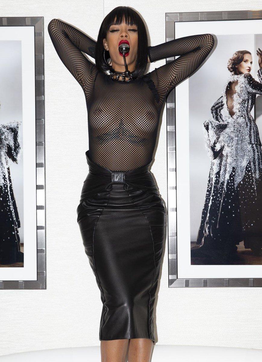 Rihanna's Tits In Fishnets At A Hollywood Orgy