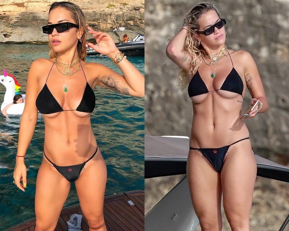 Rita Ora under boob bikini