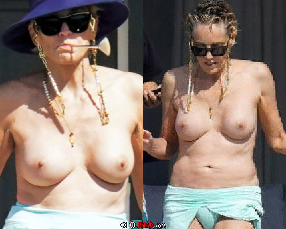 Sharon Stone Shows Off Her Nude Tits At 63-Years-Old