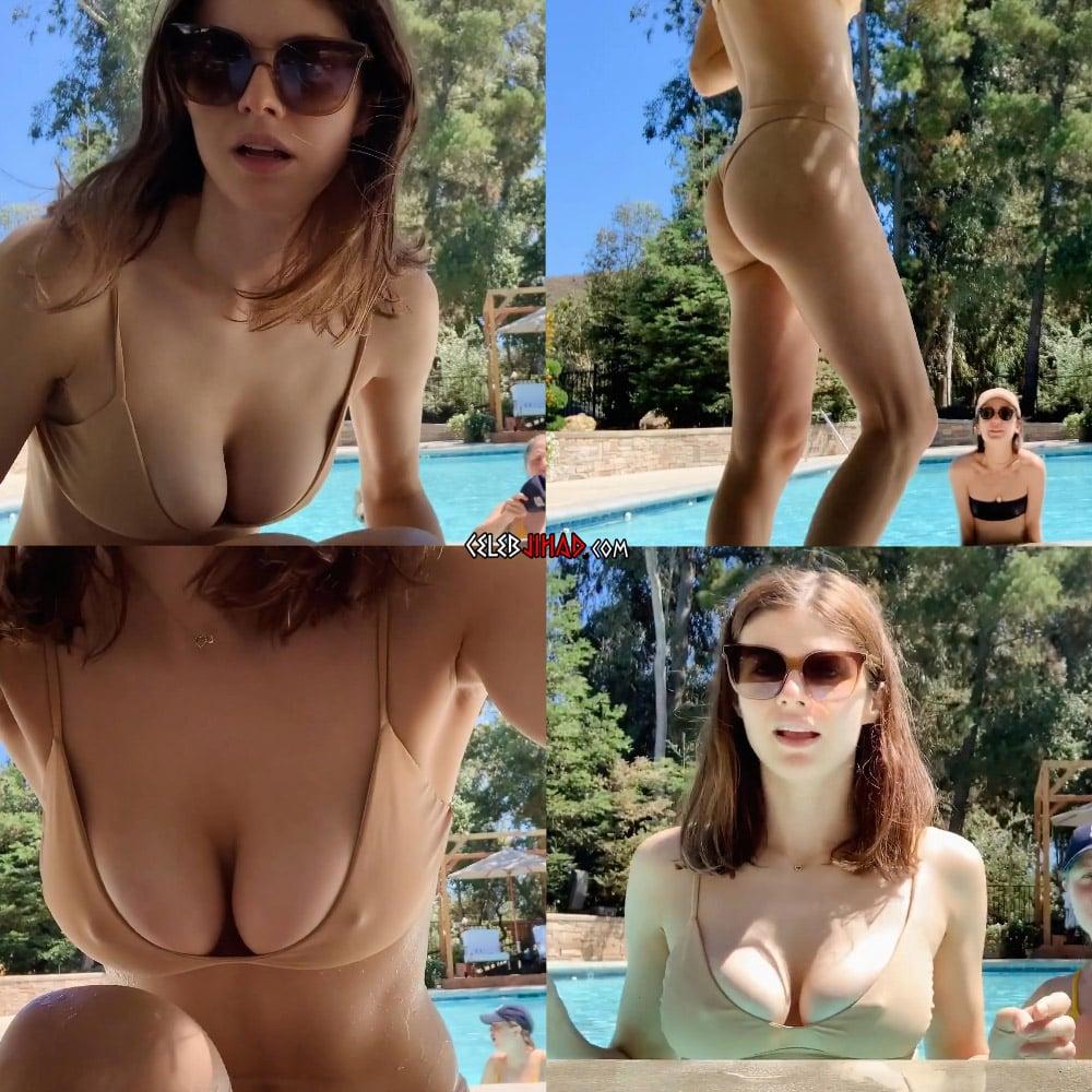 Alexandra Daddario Hard Nipple Pokies In A Thong Bikini