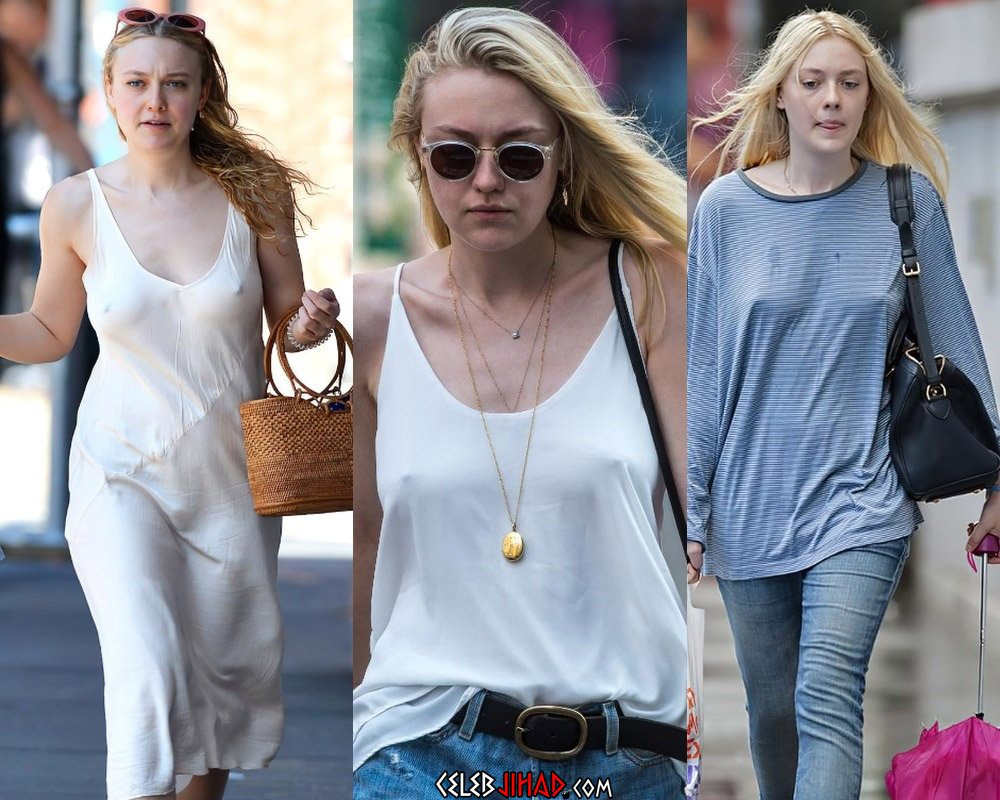 Dakota Fanning's New Tits In A See Through Top