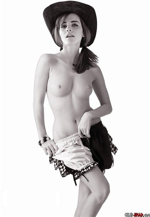 Emma Watson Poses For Artsy B&W Topless Photo