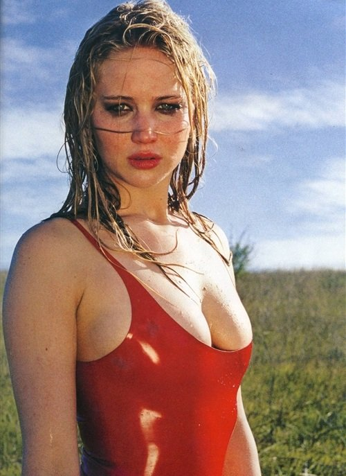 Jennifer Lawrence cleavage swimsuit