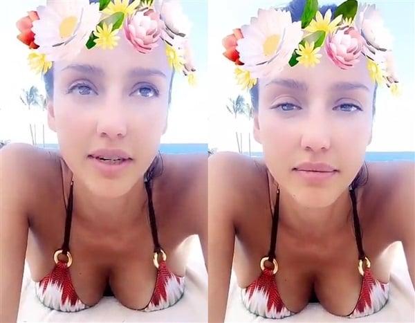 Jessica Alba Posts Bikini Cleavage Selfies On Snapchat