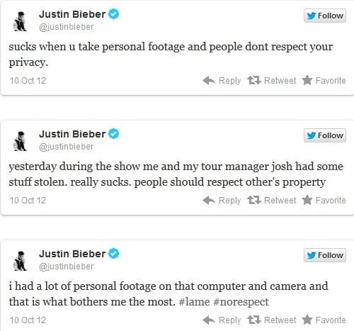Justin Bieber tweets