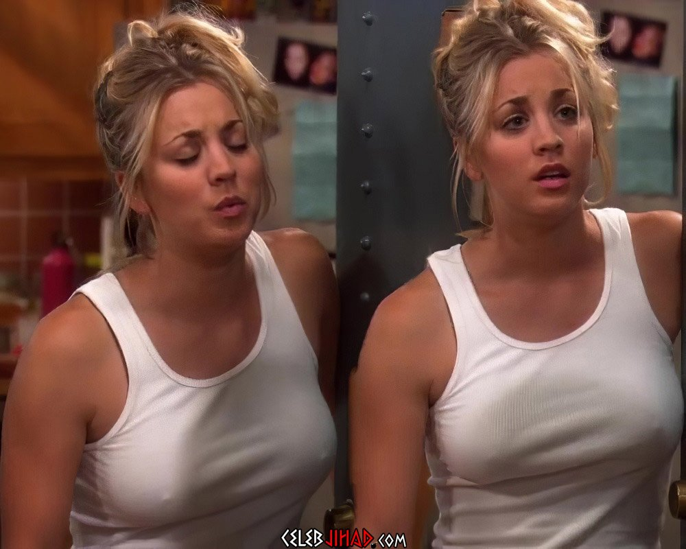 Kaley Cuoco Shows Her Nipples In A See Through Top