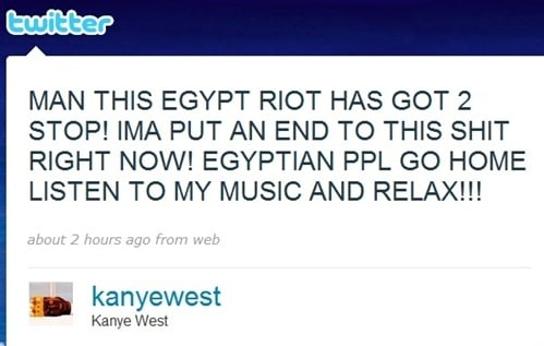 Kanye West Calls For An End To Egypt Riot On Twitter