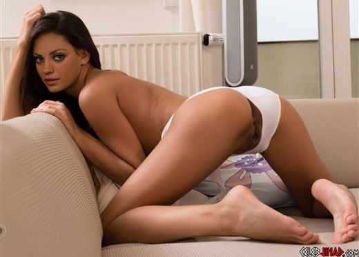 Mila Kunis Bent Over With Her Panties To The Side