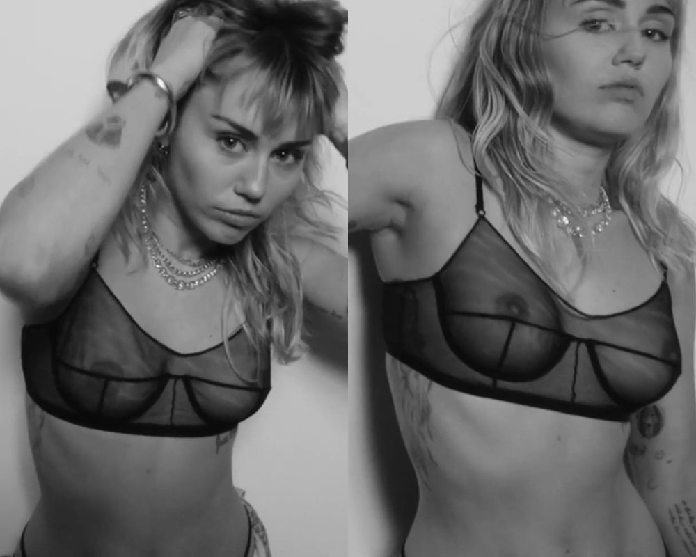 Miley Cyrus Shows Her Tits In A See Thru Bra