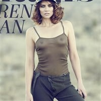 Lauren Cohan's Boobs In A Completely See Thru Top