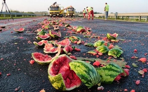 watermelon truck crash