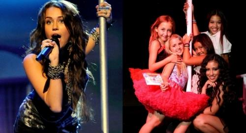 Miley and Noah Cyrus Work The Pole