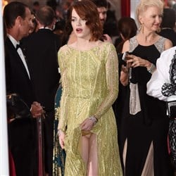 Emma Stone Lifts Up Her Dress And Exposes Her Panties At
