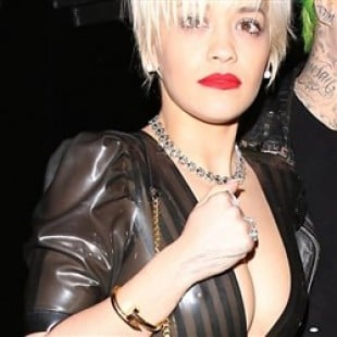 Rita Ora Shows Her Nips In A See Thru Dress With No Bra