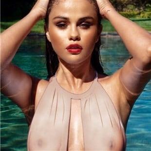 Selena Gomez Shows Her Nips In A See Thru Swimsuit