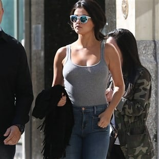 Selena Gomez Out And About Showing Her Hard Nips