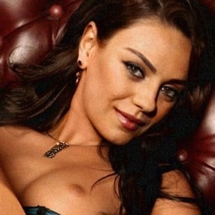 Mila Kunis Poses Naked On A Leather Chair
