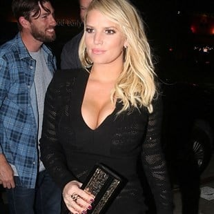 Jessica Simpson Goes Out Showing Her Bra And Panties In A See Thru Dress