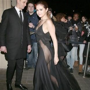 Selena Gomez Braless & Pantyless In A See Thru Burka