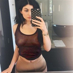 Kylie Jenner Shows Off Her Pierced Nips In A See Thru Top
