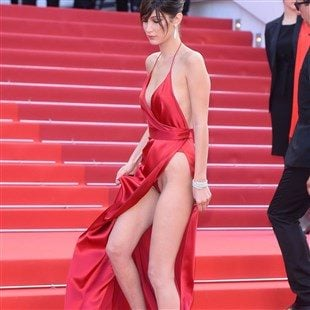 Bella Hadid Upskirt Pussy Slip At Cannes