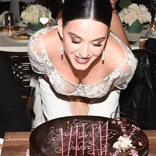 Katy Perry Bent Over Showing Massive Cleavage For Her B-Day