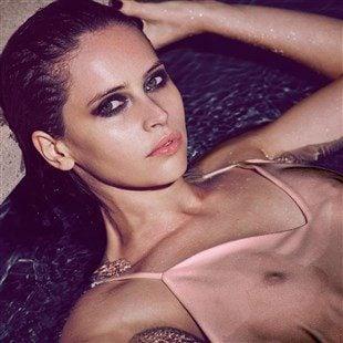 Felicity Jones Shows Off Her Nipples In A Wet See Thru Top