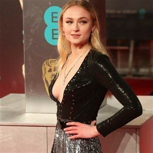 Sophie Turner Deep Cleavage And Long Legs At The British Film Awards