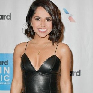 Becky G Flaunting Her Tits In Leather