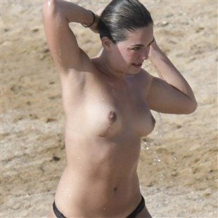 Olympia Valance Topless On A Nude Beach