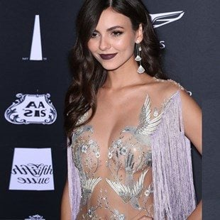 Victoria Justice Nipple Pasties In A See Through Dress