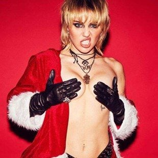 Miley Cyrus Showing Off Her Shaved Crotch For Christmas